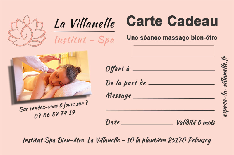 Carte Cadeau Institut Spa Bien-Etre La Villanelle